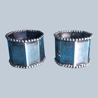 Pair Beaded hexagonal sterling silver napkin rings Serviette Holders by Wood & Hughes
