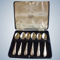 Boxed set of 6 English sterling silver Coffee Espresso Spoons sheffield 1911