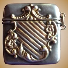 Gorgeous sterling silver and gold Stamp Box for chain or Chatelaine