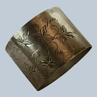 Sterling silver Napkin Ring Serviette Holder with Aesthetic Engraved Vines