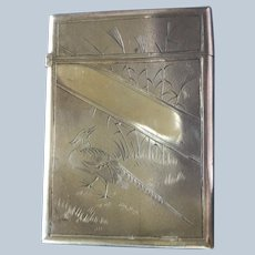 Magnificent sterling silver Card Case with Engraved Pheasant by Whiting