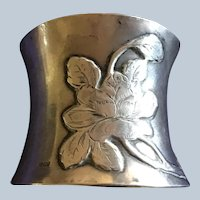 German Art nouveau Rose 800 silver Napkin Ring Serviette Holder
