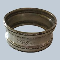 Fancy sterling silver napkin ring Serviette Holder engraved Walter