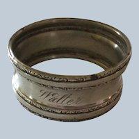 Fancy sterling silver napkin ring Serviette Holder engraved Walter
