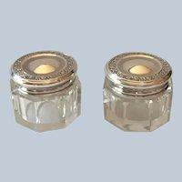 Pair sterling silver Rouge Pots or Dresser Jars
