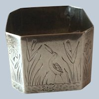 English square Victorian sterling silver Napkin Ring Serviette Holder with engraved Birds