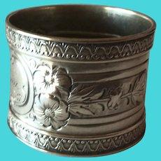 Wood and Hughes ornate sterling silver Napkin Ring Serviette Holder