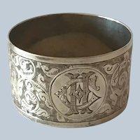 Ornate English sterling silver aesthetic engraved Napkin Ring Serviette Holder Birmingham 1897