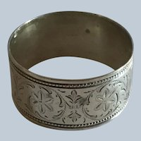 Aesthetic engraved English sterling silver Napkin Ring Serviette Holder Chester 1899