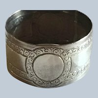 Unusual English Victorian sterling silver Napkin Ring Serviette Holder 1877