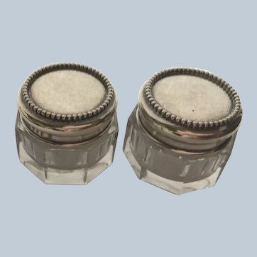 Pair beaded sterling silver Topped dresser jars Rouge Pots by Simons Bros