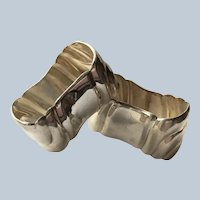 Pair Unmonogrammed 835 silver German napkin rings Serviette Holders