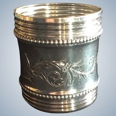 Huge Victorian aesthetic sterling silver Napkin Ring Serviette Holder 1884