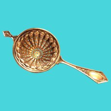 Ornate Sterling silver over the cup Tea Strainer by Frank Whiting