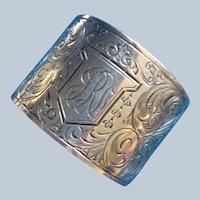 Large aesthetic engraved sterling silver Napkin Ring Serviette Holder by La Pierre
