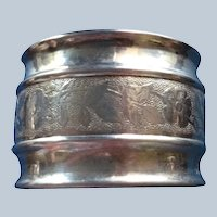 Sterling Silver Napkin Ring Serviette Holder with Band of Flowers