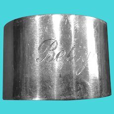 English sterling silver Napkin Ring Serviette Holder engraved Betty