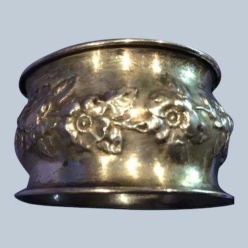 Repousse Poppy sterling silver Napkin Ring Serviette Holder engraved Ruth