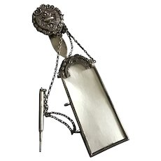 English Victorian sterling silver Chatelaine Clip with notepad and  Pencil