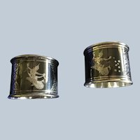 2 Thai sterling silver Niello Enamel Napkin Rings Serviette Holders