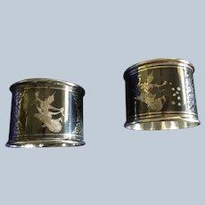 2 Thai sterling silver Niello Enamel Napkin Rings Serviette Holders
