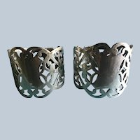 Pair English sterling silver Pierced napkin rings Serviette holders London 1903