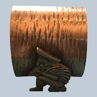 Sterling silver Napkin Ring Serviette holder with Man Playing Flute