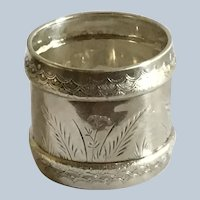 Aesthetic Engraved sterling silver Napkin Ring Serviette Holder by Gorham 1882