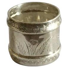 Aesthetic Engraved sterling silver Napkin Ring Serviette Holder by Gorham 1882