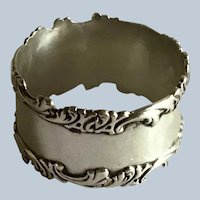 Ornate Sterling silver Napkin Ring Serviette Holder engraved Marcelle