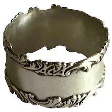 Ornate Sterling silver Napkin Ring Serviette Holder engraved Marcelle