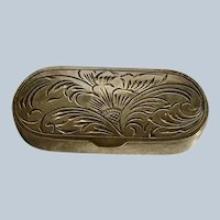 Engraved flower oval  830 silver Box
