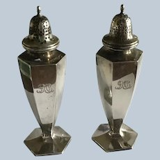 Tiffany sterling silver hexagonal Salt and Pepper Shakers