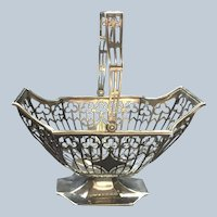 Gorgeous Footed Pierced sterling silver Basket with Handle by Bailey Banks and Biddle