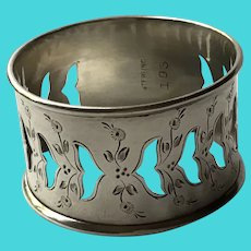 Pierced Bird Sterling silver Napkin Ring Serviette Holder