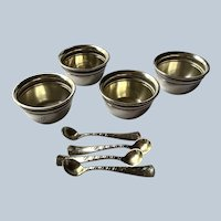 4 Gorham sterling silver Salt Cellars with Spoons