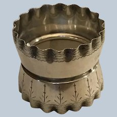 Gorgeous ruffled sterling silver Napkin Ring Serviette Holder by Wood and Hughes