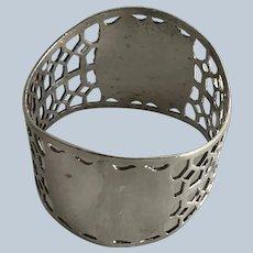 Huge pierced English sterling silver Napkin Ring Serviette Holder