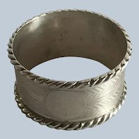 English Edwardian sterling silver Rope Edge Napkin Ring Serviette Holder