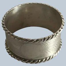 English Edwardian sterling silver Rope Edge Napkin Ring Serviette Holder
