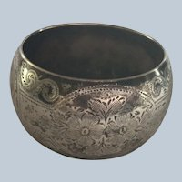 English sterling silver Napkin Ring Serviette Holder London 1907 engraved Joan
