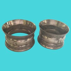 Pair English sterling silver napkin rings Serviette Holders Sheffield 1897