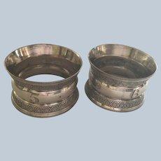 Pair English sterling silver napkin rings Serviette Holders Sheffield 1897