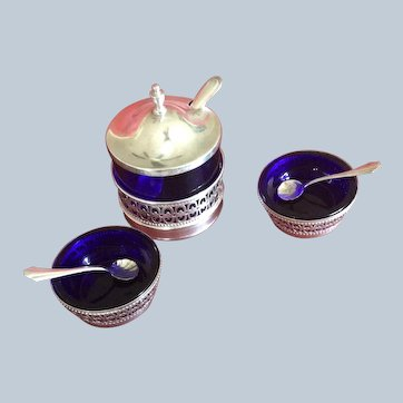 6 piece sterling silver and Cobalt Glass Condiment Set