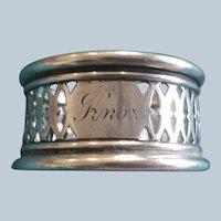 Fine pierced sterling silver Napkin Ring Serviette Holder by Gorham engraved Knox