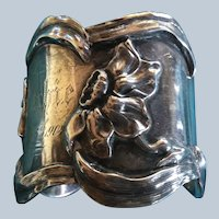 Art Nouveau Daffodil sterling silver Napkin Ring Serviette Holder by Towle