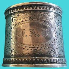 Ornate aesthetic engraved sterling silver Napkin Ring Serviette Holder by Gorham 1879