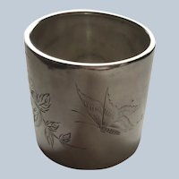 Gorham large Sterling silver Napkin Ring Serviette Holder with Butterfly