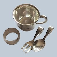 Japanese 4 Piece 950 Sterling silver Baby Set Cup Napkin Ring Fork Spoon