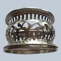 Fancy large Pierced sterling silver Napkin Ring Serviette Holder